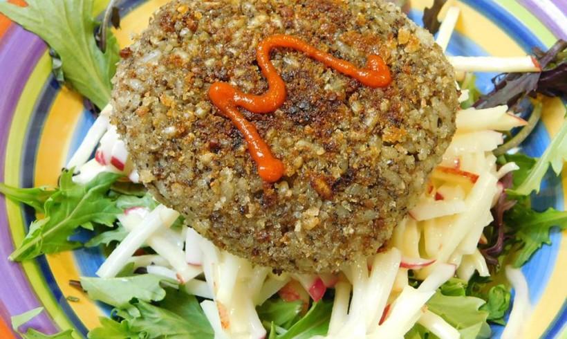 Mushroom burger on kohlrabi, radish and apple slaw, with a lime and wasabi mayo