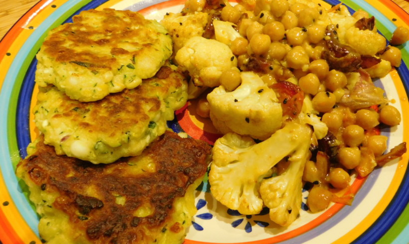Zucchini & Haloumi fritters with roasted cauliflower salad