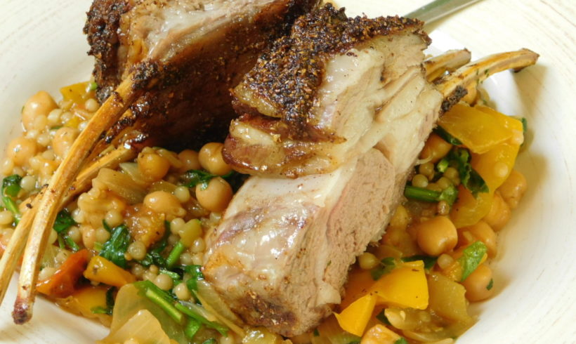 Spice-rubbed lamb rack with pearl couscous pilaf
