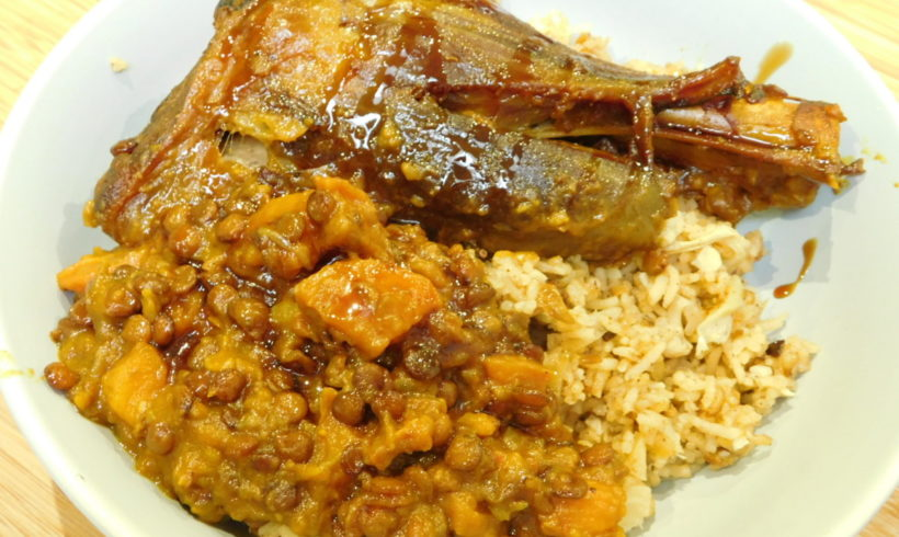 Lamb tagine with harissa and carrot; fruity cauliflower pilaf