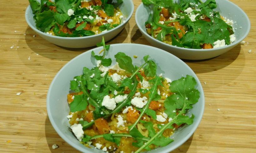 Pumpkin & mushroom risotto with roast pumpkin and feta salad