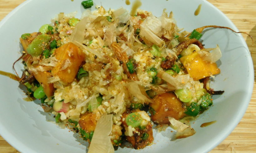 Miso and maple syrup glazed carrot and pumpkin rice bowl