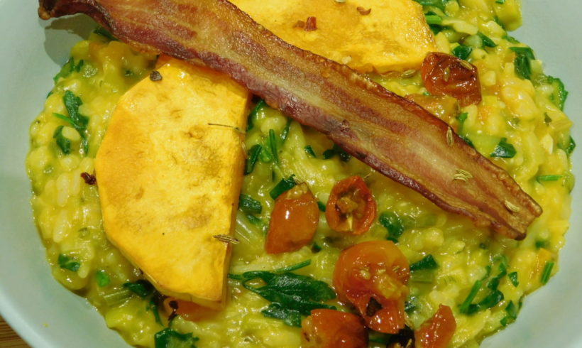 Butternut risotto with streaky bacon