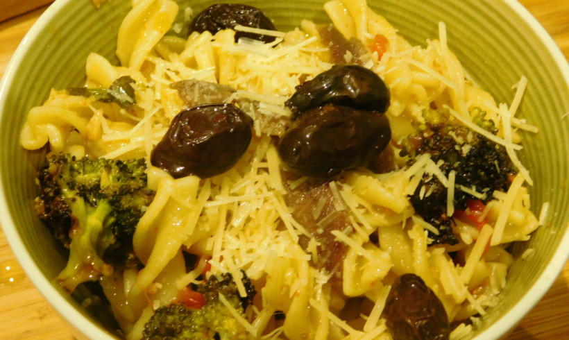 Pasta with olive oil-roasted broccoli and cherry tomatoes