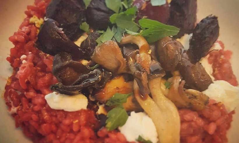 Georgia's beetroot risotto with goats cheese, fancy mushrooms