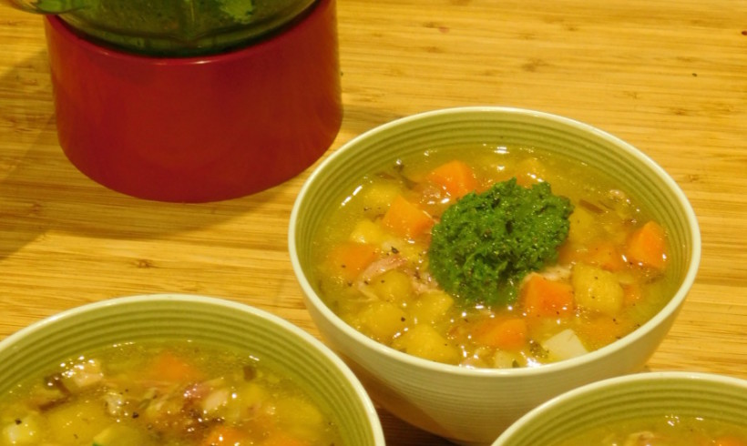 Ham & veg soup with kale and walnut pistou