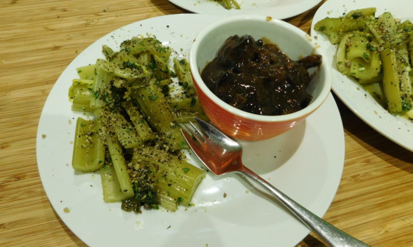 Braised celery with herbed vinaigrette