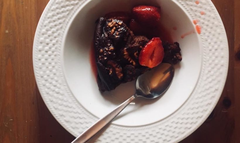 Eve's Warm chocolate, pumpkin, walnut and kombucha pudding with strawberry and kombucha compote