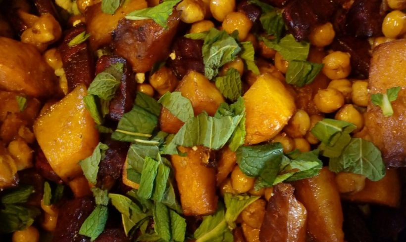 Louisa's Caramelised pumpkin with beetroot, chickpeas and brassica rice